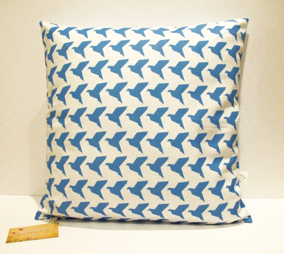 BlueOrigamiBirdsActualCushion
