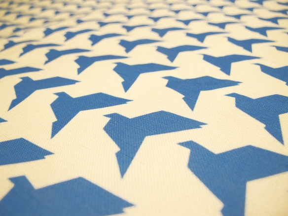 BlueOrigamiBirdsTeaTowelCloseup
