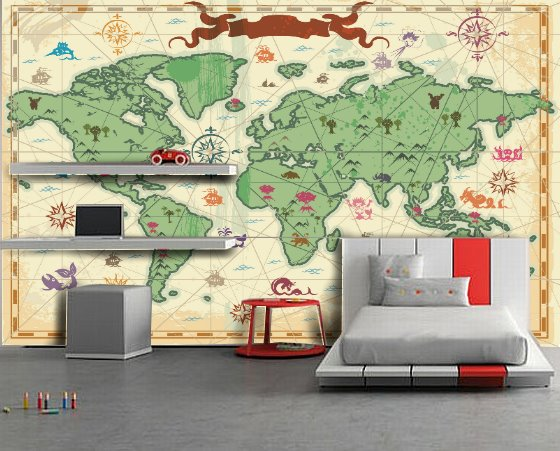 Kids World Map Wallpaper
