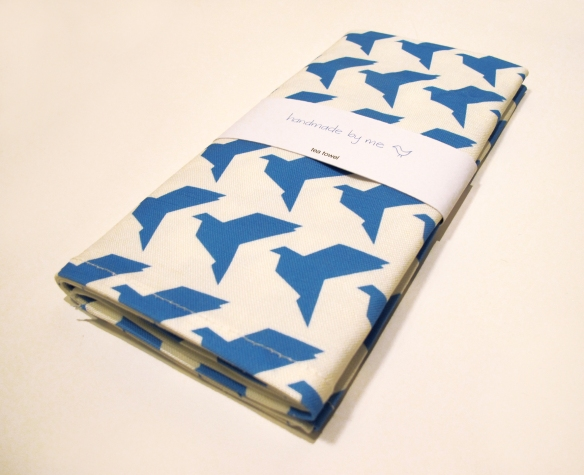 BlueOrigamiBirdsTeaTowelWrapped