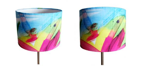 Lampshade handmade by me feisty floral watercolour on blue large lampshade 500cm diameter standing ceiling aloadofball Image collections